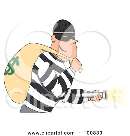Royalty-Free (RF) Clipart Illustration of a Grinning Male Robber In A Striped Shirt, Shining A Flashlight And Carrying A Money Bag by mheld