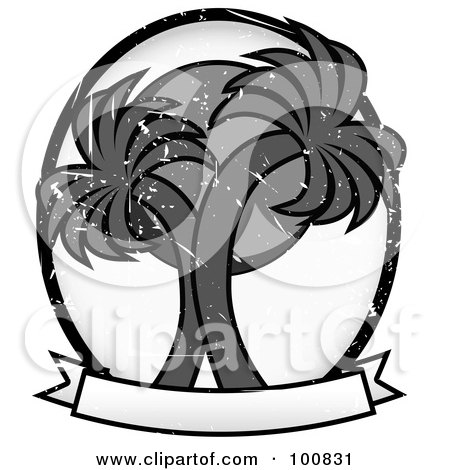 Royalty-Free (RF) Clipart Illustration of a Grungy Grayscale Double Palm Tree Label by mheld