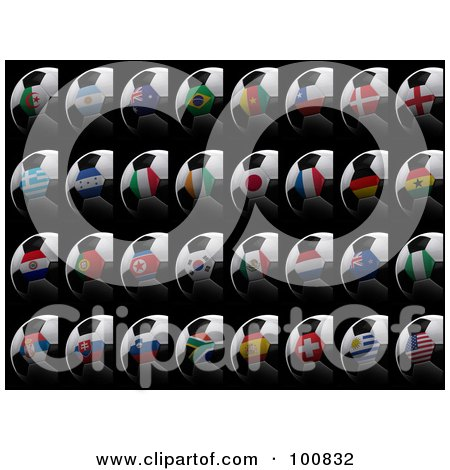 Royalty-Free (RF) Clipart Illustration of a Digital Collage Of 3d Flag Soccer Balls Of All Soccer World Cup 2010 Participating Countries, On Black by stockillustrations