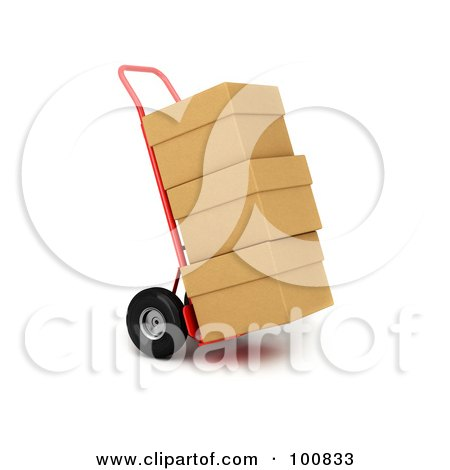 Royalty-Free (RF) Clipart Illustration of a 3d Red Hand Truck With Stacked Cardboard Boxes Out For Delivery by stockillustrations