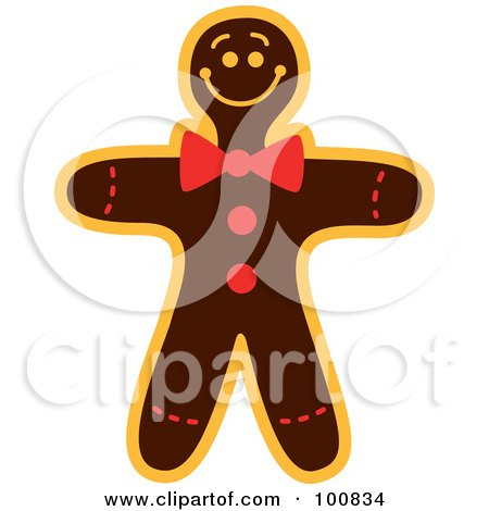 Royalty-Free (RF) Clipart Illustration of a Christmas Gingerbread Man Cookie With A Bow Tie by Zooco
