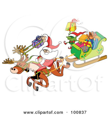 Royalty-Free (RF) Clipart Illustration of Santa Using A Gift Slingshot, Riding A Reindeer And Pulling A Sleigh Of Gifts by Zooco
