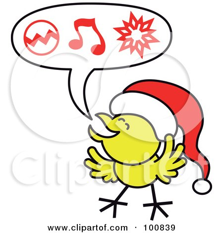 Royalty-Free (RF) Clipart Illustration of a Christmas Chicken Wearing A Santa Hat And Singing Carols by Zooco