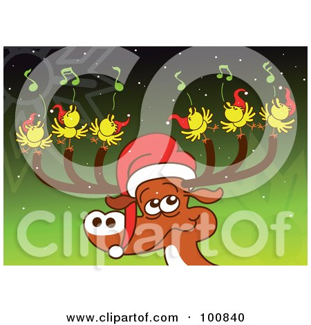 Royalty-Free (RF) Clipart Illustration of a Christmas Reindeer Wearing A Santa Hat, With Six Birds Singing Tunes On His Antlers by Zooco