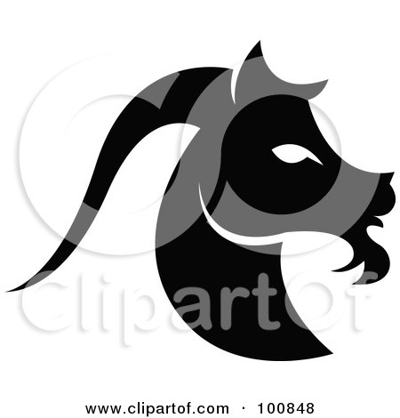 Royalty-Free (RF) Clipart Illustration of a Black And White Capricorn Sea Goat Zodiac Icon by cidepix