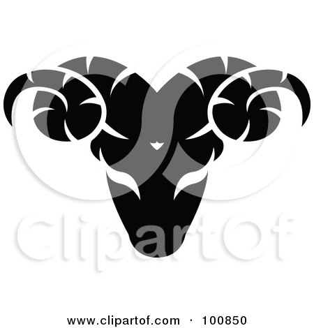 Royalty-Free (RF) Clipart Illustration of a Black And White Aries Ram Zodiac Icon by cidepix