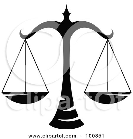 Royalty-Free (RF) Clipart Illustration of a Black And White Libra Scales Zodiac Icon by cidepix