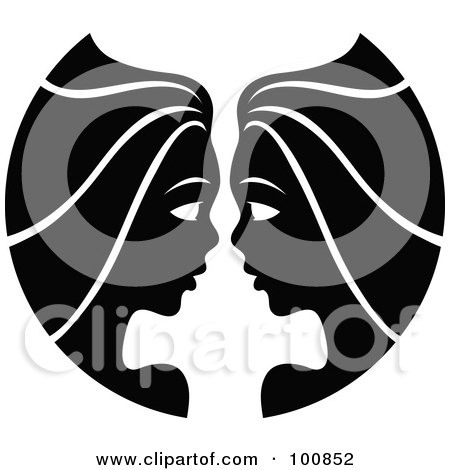 Royalty-Free (RF) Clipart Illustration of a Black And White Twin Gemini Zodiac Icon by cidepix