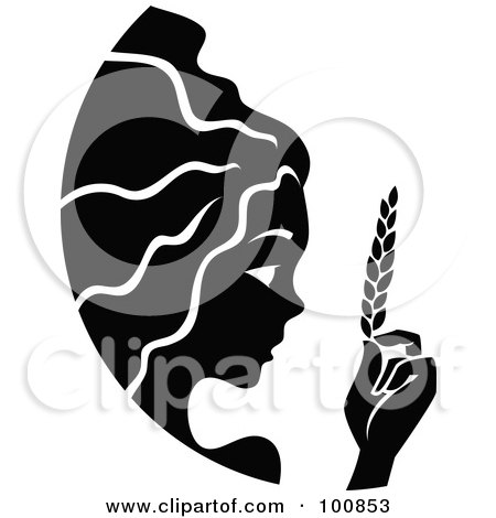 Royalty-Free (RF) Clipart Illustration of a Black And White Beautiful Virgo Zodiac Icon by cidepix