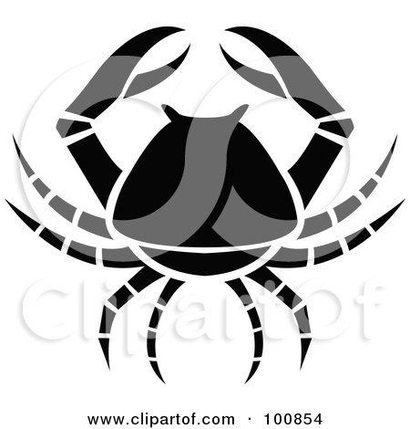Royalty-Free (RF) Clipart Illustration of a Black And White Crab Cancer Zodiac Icon by cidepix
