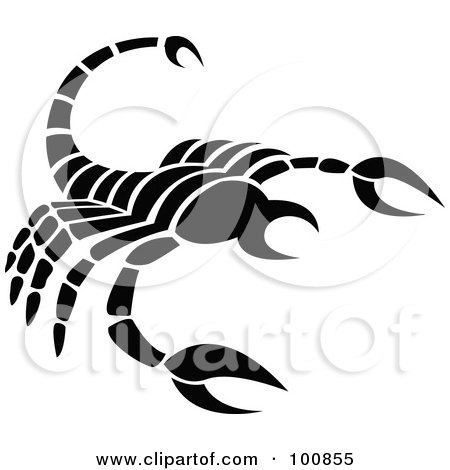 Royalty-Free (RF) Clipart Illustration of a Black And White Scorpion Scorpio Zodiac Icon by cidepix