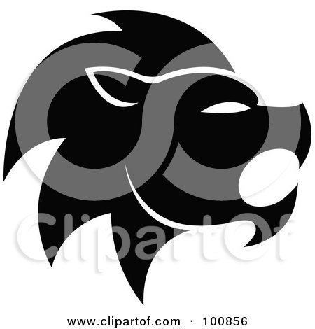 Royalty-Free (RF) Clipart Illustration of a Black And White Lion Leo Zodiac Icon by cidepix