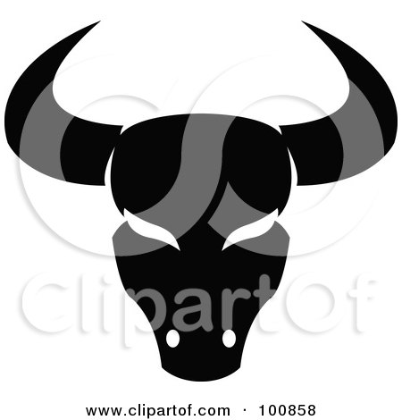 Royalty-Free (RF) Clipart Illustration of a Black And White Taurus Bull Zodiac Icon by cidepix