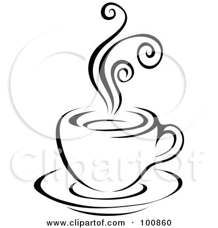 Royalty-Free (RF) Clipart Illustration of a Black And White Steam Latte Logo by cidepix