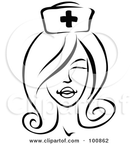 Royalty-Free (RF) Clipart Illustration of a Black And White Winking Female Nurse by cidepix