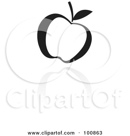 Royalty-Free (RF) Clipart Illustration of a Black And White Apple Icon by cidepix