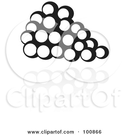 Royalty-Free (RF) Clipart Illustration of a Black And White Grapes Icon And Reflection by cidepix