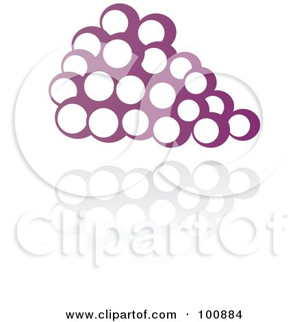 Royalty-Free (RF) Clipart Illustration of a Purple Grapes Icon And Reflection by cidepix