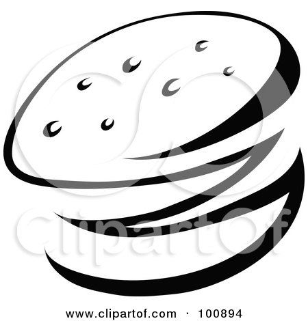 Royalty-Free (RF) Clipart Illustration of a Black And White Abstract Hamburger by cidepix
