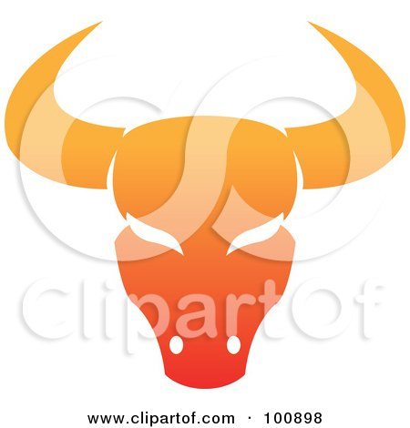 Royalty-Free (RF) Clipart Illustration of a Gradient Orange Taurus Bull Zodiac Icon by cidepix