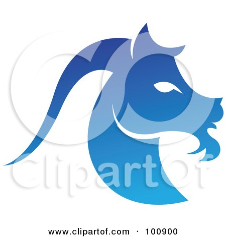 Royalty-Free (RF) Clipart Illustration of a Gradient Blue Capricorn Sea Goat Zodiac Icon by cidepix