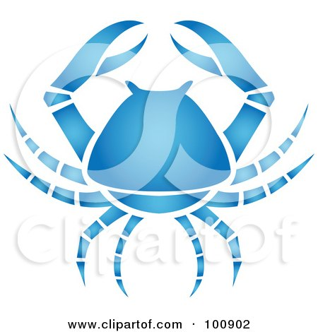 Royalty-Free (RF) Clipart Illustration of a Gradient Blue Crab Cancer Zodiac Icon by cidepix