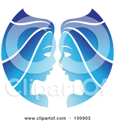 Royalty-Free (RF) Clipart Illustration of a Gradient Blue Twin Gemini Zodiac Icon by cidepix