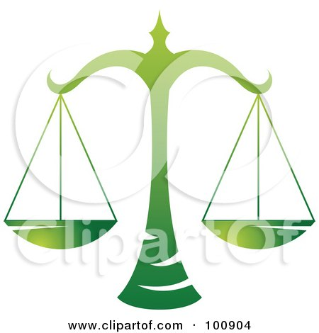 Royalty-Free (RF) Clipart Illustration of a Gradient Green Libra Scales Zodiac Icon by cidepix