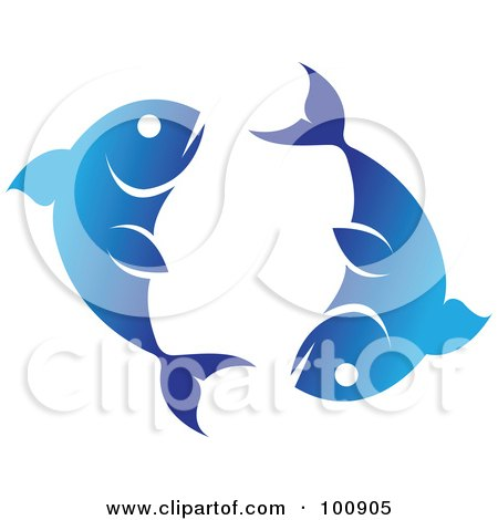 Royalty-Free (RF) Clipart Illustration of a Gradient Blue Pisces Fish Zodiac Icon by cidepix