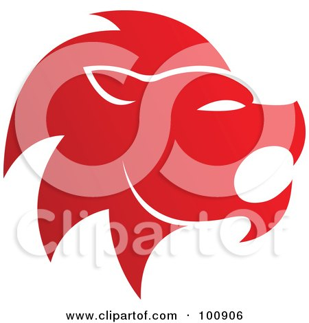 Royalty-Free (RF) Clipart Illustration of a Gradient Red Lion Leo Zodiac Icon by cidepix