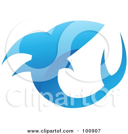 Royalty-Free (RF) Clipart Illustration of a Glossy Blue Shark Icon Logo by cidepix