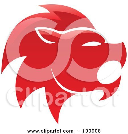 Royalty-Free (RF) Clipart Illustration of a Glossy Red Lion Leo Zodiac Icon by cidepix