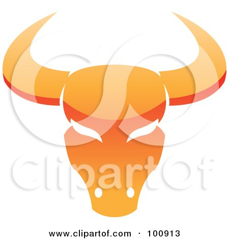 Royalty-Free (RF) Clipart Illustration of a Glossy Orange Taurus Bull Zodiac Icon by cidepix