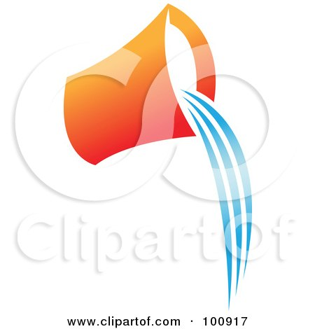 Royalty-Free (RF) Clipart Illustration of an Orange Aquarius Bucket Icon by cidepix