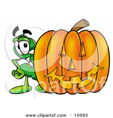 Clipart Picture of a Dollar Sign Mascot Cartoon Character With a Carved Halloween Pumpkin by Toons4Biz