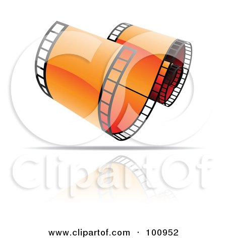 Royalty-Free (RF) Clipart Illustration of a Curling Orange Film Strip Icon by cidepix
