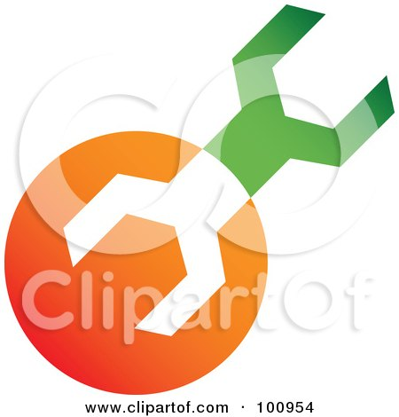 Royalty-Free (RF) Clipart Illustration of a Green And Orange Wrench Tools Icon by cidepix