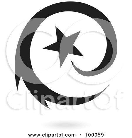 Royalty-Free (RF) Clipart Illustration of a Blue Spiraling Star Logo Icon by cidepix