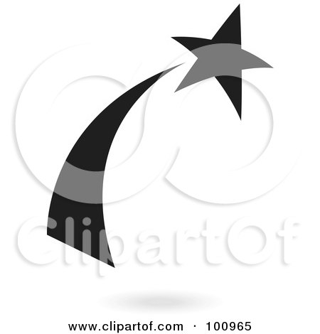 Royalty-Free (RF) Clipart Illustration of a Black Shooting Star Logo Icon by cidepix