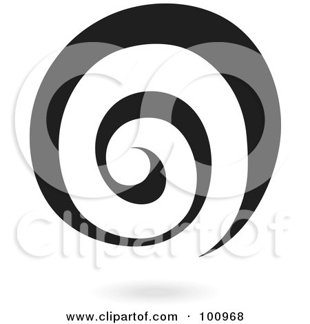 Royalty-Free (RF) Clipart Illustration of a Black Spiral Galaxy Logo Icon by cidepix