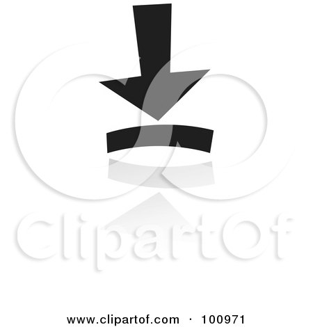 Royalty-Free (RF) Clipart Illustration of a Black And White Download Symbol Icon by cidepix