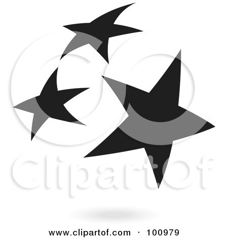Royalty-Free (RF) Clipart Illustration of a Black Star Cluster Logo Icon by cidepix