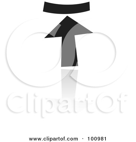Royalty-Free (RF) Clipart Illustration of a Black And White Upload Symbol Icon by cidepix