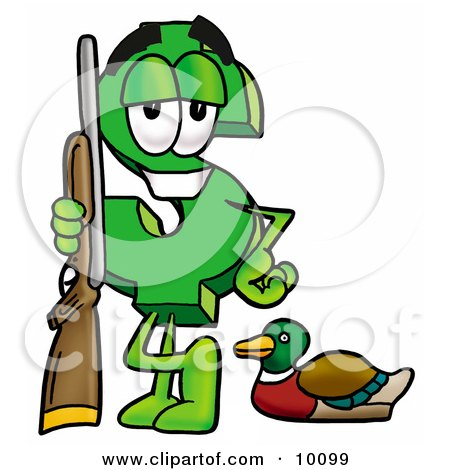 Clipart Picture of a Dollar Sign Mascot Cartoon Character Duck Hunting, Standing With a Rifle and Duck by Toons4Biz