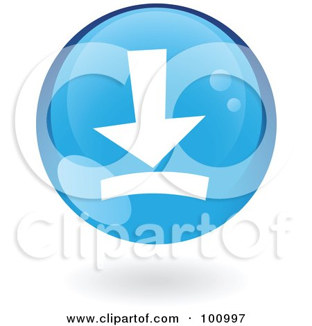 Royalty-Free (RF) Clipart Illustration of a Round Glossy Blue Download Web Icon by cidepix