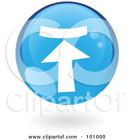 Royalty-Free (RF) Clipart Illustration of a Round Glossy Blue Upload Web Icon by cidepix