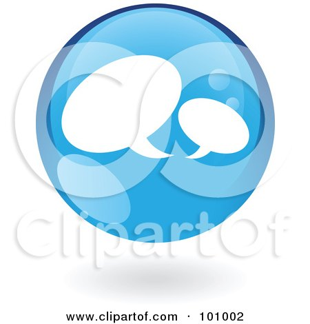 Royalty-Free (RF) Clipart Illustration of a Round Glossy Blue Chat Web Icon by cidepix