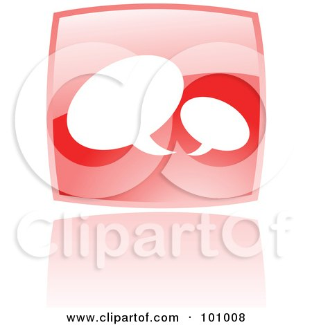 Royalty-Free (RF) Clipart Illustration of a Shiny Red Square Chat Web Browser Icon by cidepix