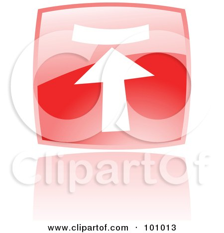 Royalty-Free (RF) Clipart Illustration of a Shiny Red Square Upload Web Browser Icon by cidepix