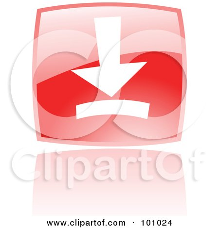 Royalty-Free (RF) Clipart Illustration of a Shiny Red Square Download Web Browser Icon by cidepix